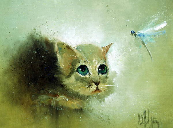 Painting - Little Kitty And Dragonfly by Igor Medvedev