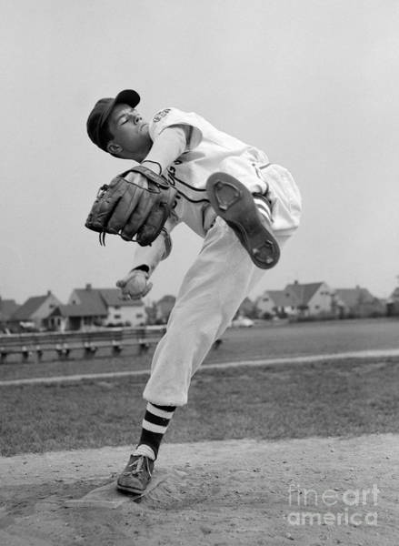 College Baseball Photograph - Little League Pitcher, 1950s by Debrocke/ClassicStock