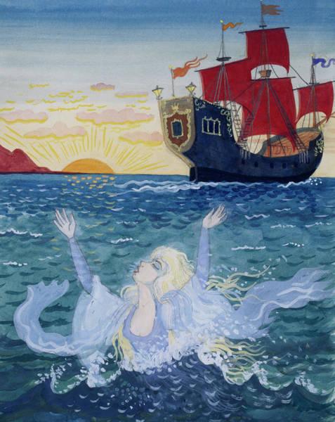 Galleons Wall Art - Painting - Little Mermaid by Lorenz Frolich
