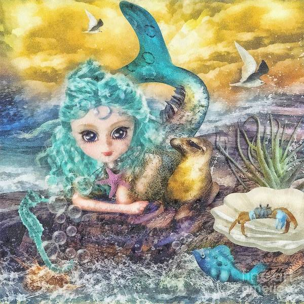 Little Mermaid Wall Art - Mixed Media - Little Mermaid by Mo T