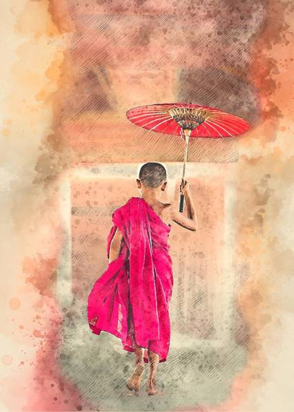 Mixed Media - Little Monk by Joy of Life Arts Gallery