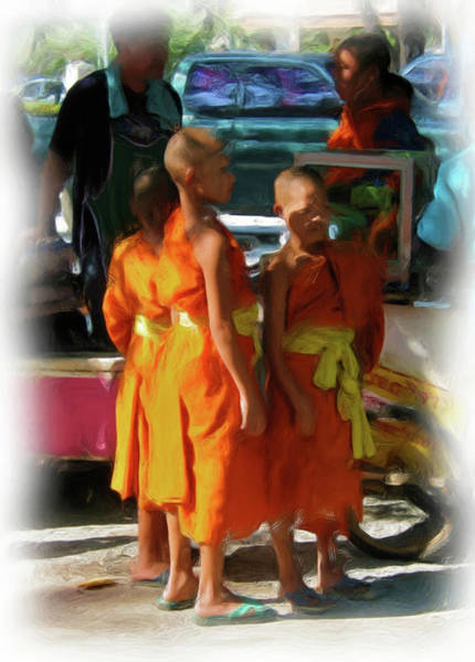 Painting - Little Novice Monks 1 by Bates Clark