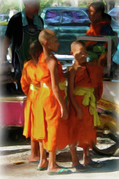 Painting - Little Novice Monks 1-cropped by Bates Clark