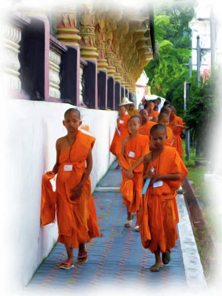 Painting - Little Novice Monks 2 by Bates Clark