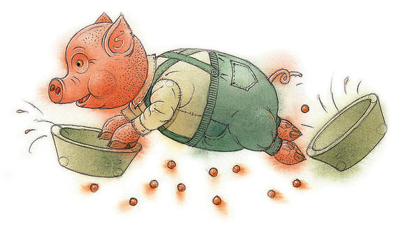 Dinner Painting - Little Pig by Kestutis Kasparavicius