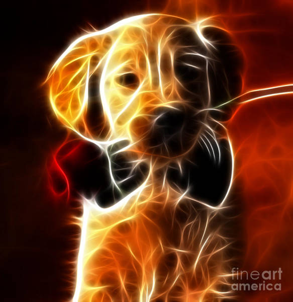 Canine Mixed Media - Little Puppy In Love by Pamela Johnson