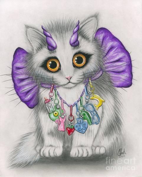 Mixed Media - Little Purple Horns - 1980s Cute Devil Kitten by Carrie Hawks