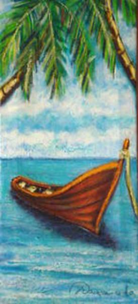 Acrilic Painting - Little Red Boat by Yasemin Raymondo