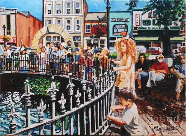 Wall Art - Painting - Little Red Headed Girl At Fountain Square Park by Misha Ambrosia