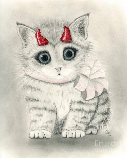 Drawing - Little Red Horns - Cute Devil Kitten by Carrie Hawks