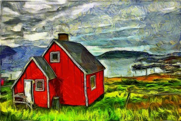 Little Red House In Greenland Art Print