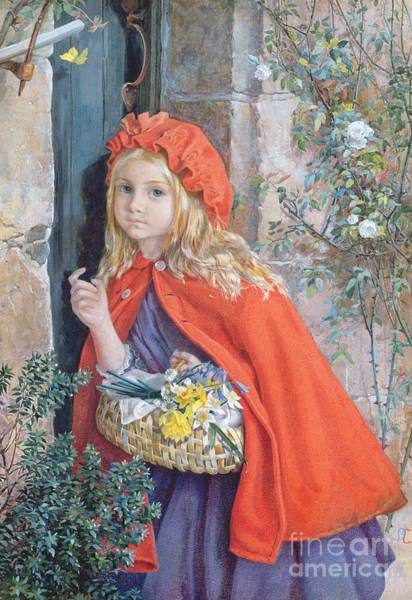 Grandma Wall Art - Painting - Little Red Riding Hood by Isabel Oakley Naftel
