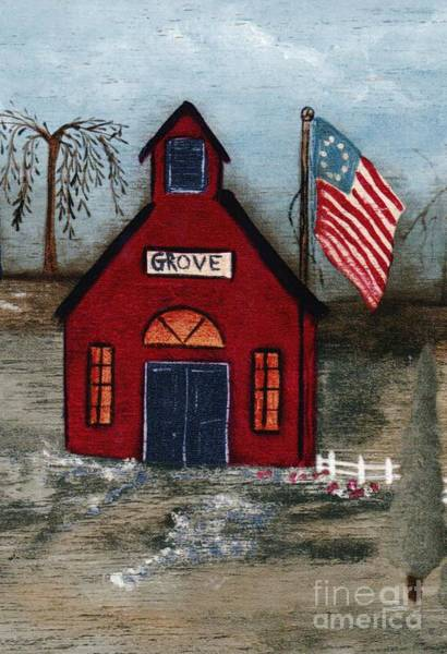 Mixed Media - Little Red Schoolhouse by Writermore Arts