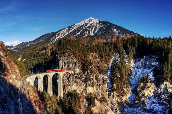 Photograph - Little Red Train In The Swiss Alps by Quality HDR Photography