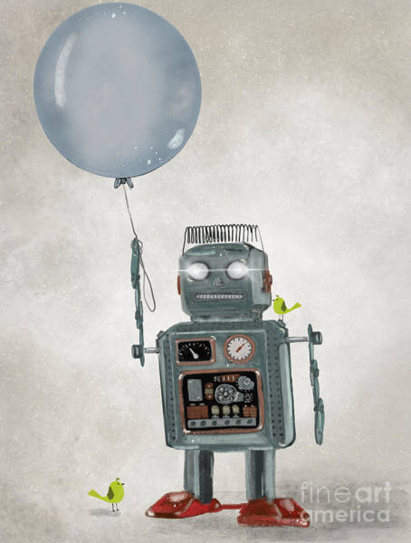 Robot Wall Art - Painting - Little Robot by Bri Buckley