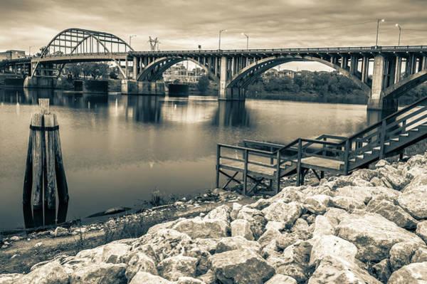 Photograph - Little Rock Arkansas Broadway Bridge Black And White -  Sepia by Gregory Ballos