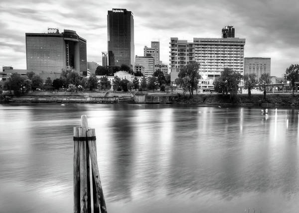 Photograph - Little Rock Arkansas Skyline On The River - Black And White by Gregory Ballos