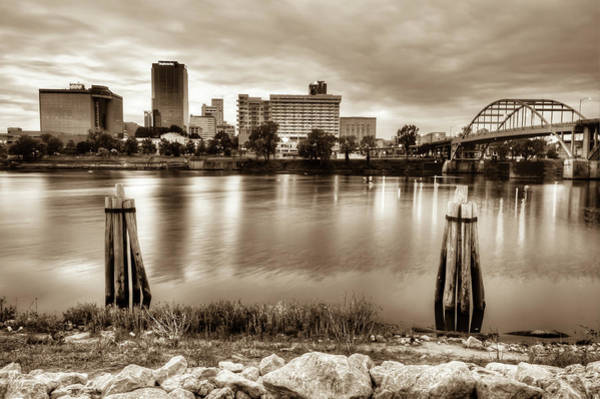 Photograph - Little Rock Arkansas Vintage Sepia Skyline by Gregory Ballos