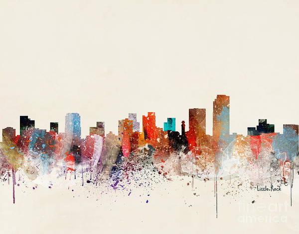 Arkansas Wall Art - Painting - Little Rock Skyline by Bri Buckley