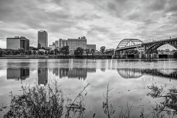 Photograph - Little Rock Skyline Reflections Black And White - Arkansas  by Gregory Ballos