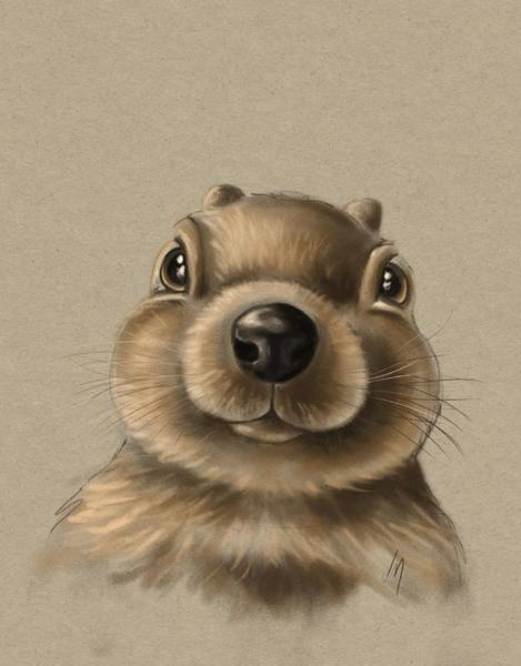 Wall Paper Painting - Little Squirrel by Veronica Minozzi