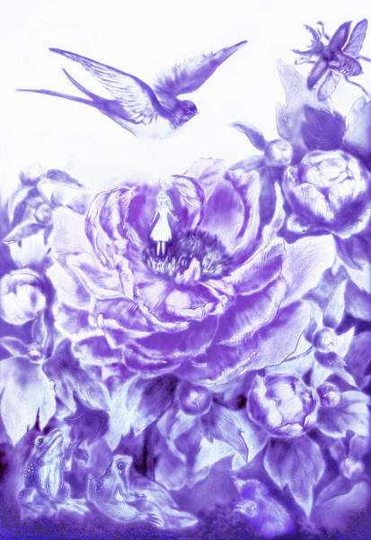 Painting - Little Tiny Or Thumbelina. Lavender by Elena Vedernikova