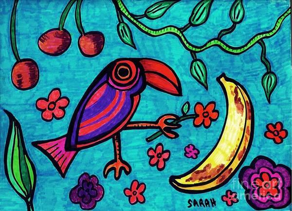 Aqua Drawing - Little Toucan by Sarah Loft