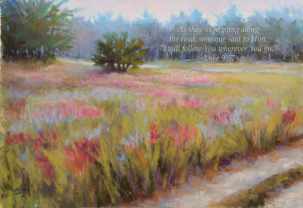 Pastel - Little Tree Road With Verse by Susan Jenkins