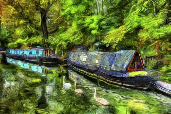 Swan Boats Photograph - Little Venice London Van Gogh by David Pyatt