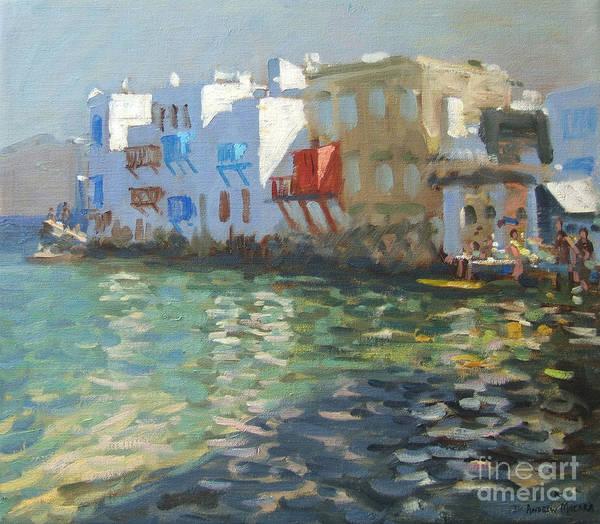 Greek Islands Wall Art - Painting - Little Venice Mykonos by Andrew Macara