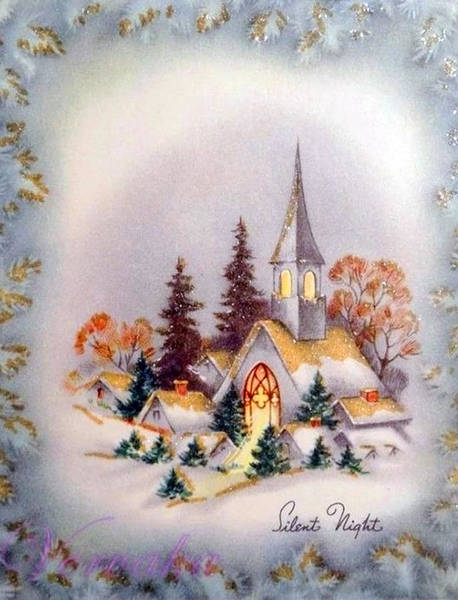 Romantic Mixed Media - Little Village In Snow by Long Shot