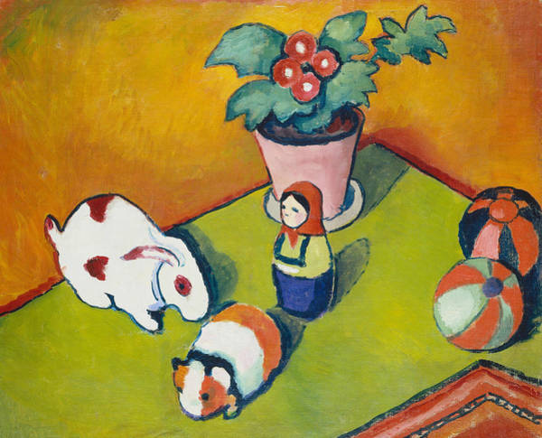 The Blue Rider Wall Art - Painting - Little Walter's Toys by August Macke