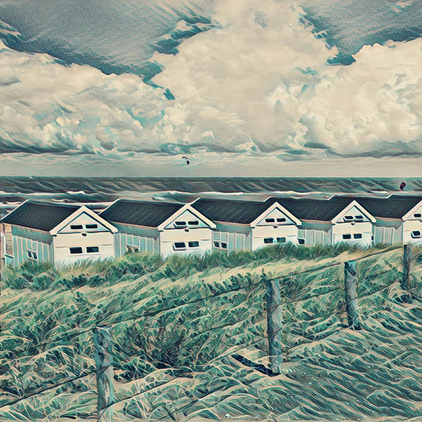 Photograph - Little White Beach Houses And Breezy Waves Painting by Debra and Dave Vanderlaan