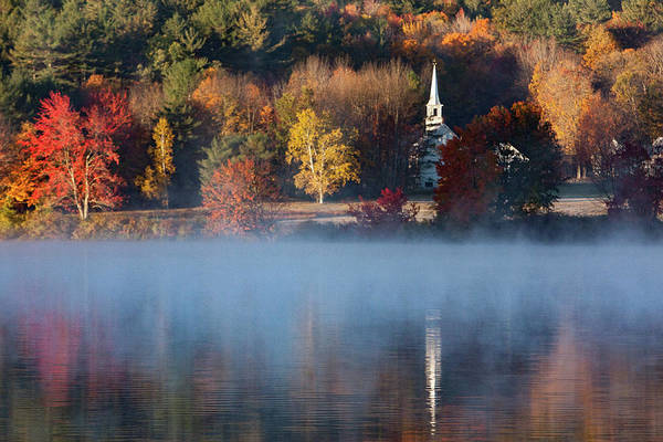 Photograph - Little White Church On Crystal Lake by Jeff Folger