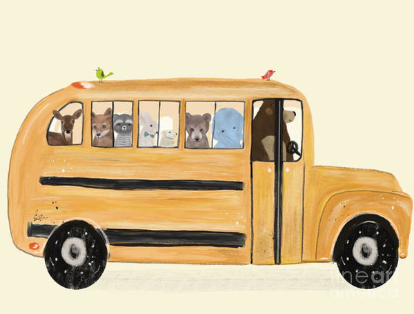 Dreamy Wall Art - Painting - Little Yellow Bus by Bri Buckley