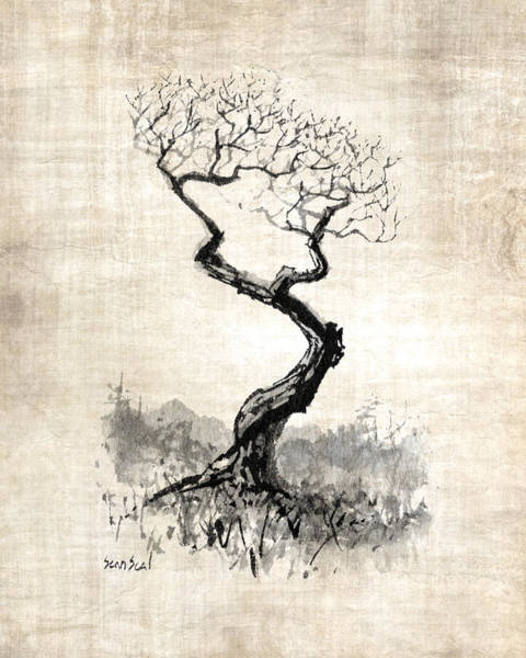 Chinese Brush Painting - Little Zen Tree 1820 by Sean Seal