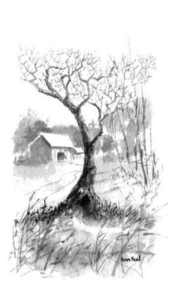 Chinese Brush Painting - Little Zen Tree 1832 by Sean Seal