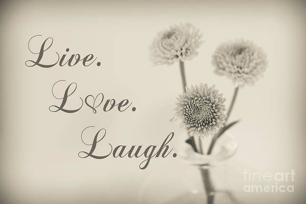 Wall Art - Photograph - Live Love Laugh - Botanical by Lucid Mood