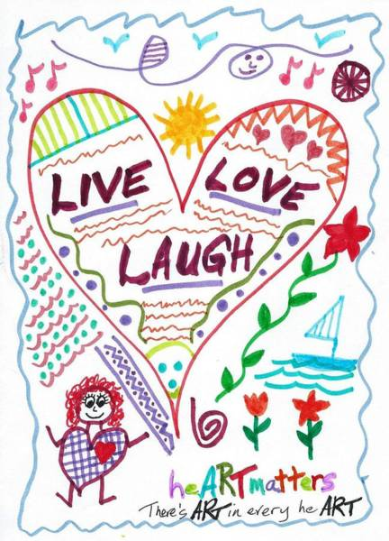 Drawing - Live Love Laugh by Susan Schanerman