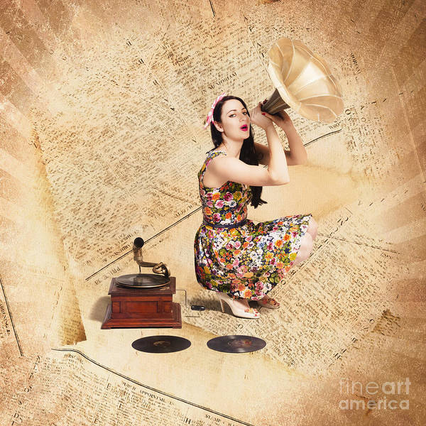 Photograph - Live Music Pinup Singer Performing On Gig Guide by Jorgo Photography - Wall Art Gallery