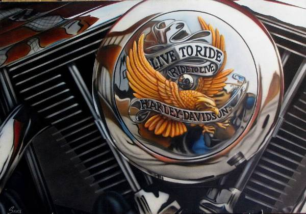 Pan Head Painting - Live To Ride Ride To Live by Brett Sauce