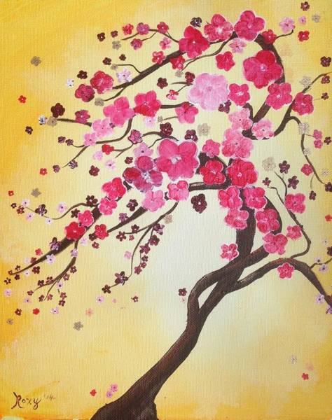 Painting - Lively Cherry Blossoms by Roxy Rich