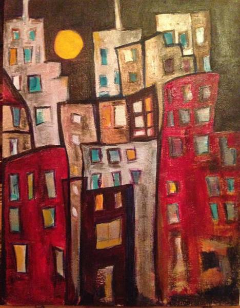 Skyline Painting - Lively City 1 by Roxy Rich