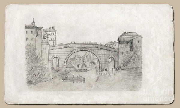 Drawing - Liverpool Bridge by Donna L Munro