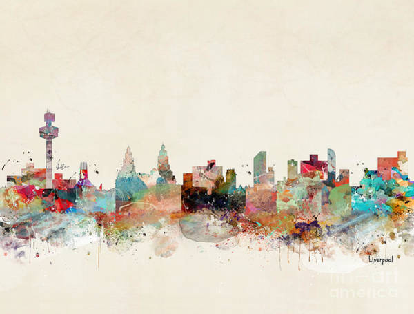 Watercolour Landscape Painting - Liverpool City Skyline by Bri Buckley