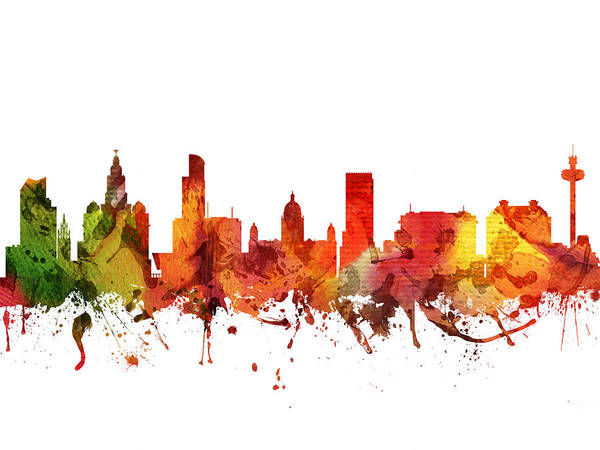 Liverpool Skyline Digital Art - Liverpool Cityscape 04 by Aged Pixel