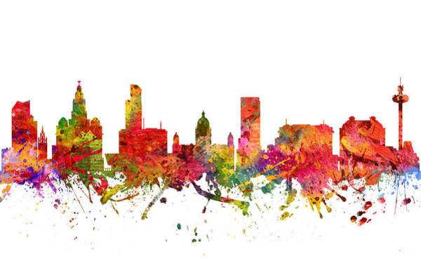 Liverpool Skyline Digital Art - Liverpool  Cityscape 08 by Aged Pixel