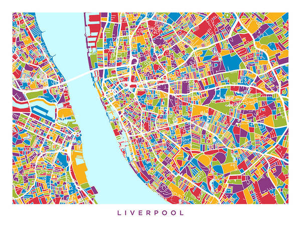 Wall Art - Digital Art - Liverpool England City Street Map by Michael Tompsett