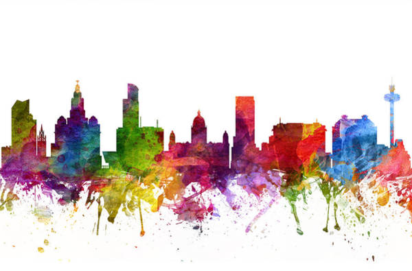 Liverpool Skyline Digital Art - Liverpool England Cityscape 06 by Aged Pixel