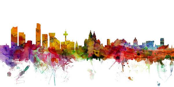 Liverpool Skyline Digital Art - Liverpool England Skyline Panoramic by Michael Tompsett